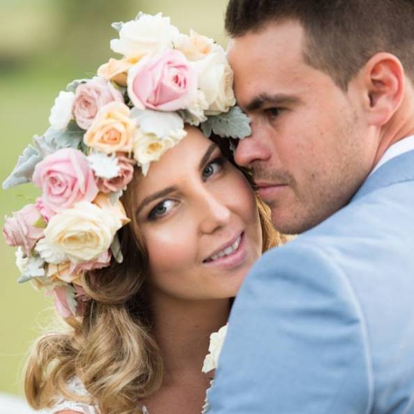 bridal makeup, flower crown, brisbane wedding